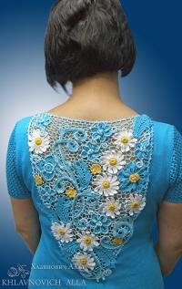 Платье «Ромашки на бирюзе» Модель 808